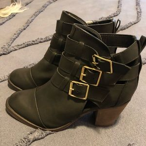 Black booties with gold buckles - runs large